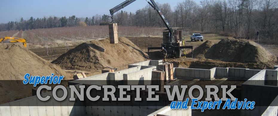 Superior Concrete Work and Expert Advice | Crane Lowering Concrete into Place